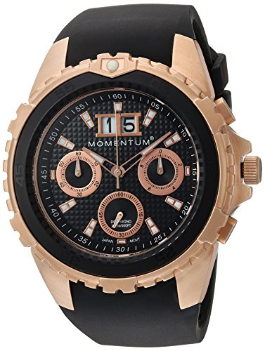 Momentum Men's 'D6 Chrono' Quartz Stainless Steel and Rubber Diving Watch, Color:Black (Model: 1M-DV24B4B)