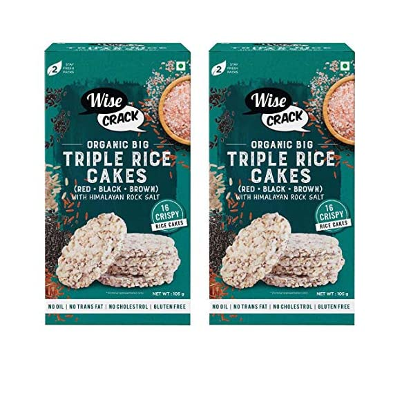 Wise Crack Organic Rice Cakes, Triple Rice (Black, Red, Brown), Whole Grain Puffed Cracker, Crispy Healthy Snacks, 210 gm - Pack of 2