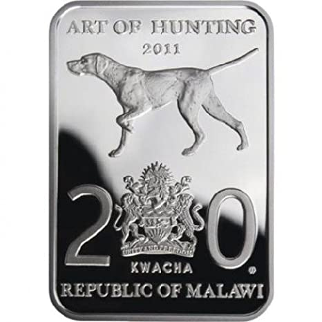 2011 Malawi 20 Kwacha Art of Hunting DUCK HUNTING Silver Proof Coin Bar