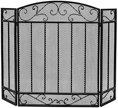 暖炉スクリーン特大ブラック、折りたたみ式3パネルベビーペット安全な防火スクリーンスパークガードガス火災/ログウッドバーナー用 (Color : Black, Size : 61×32×80cm)