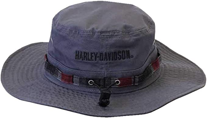 Harley-Davidson Mens Bucket Hat Foldable Washed Twill Cap Black HD-439