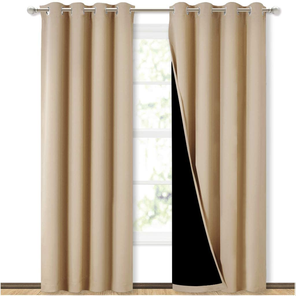 NICETOWN Living Room Completely Shaded Draperies, Privacy Protection & Noise Reducing Ring Top Drapes, Black Lined Insulated Window Treatment Curtain Panels(Biscotti Beige, 2 Pieces, W52 x L84)