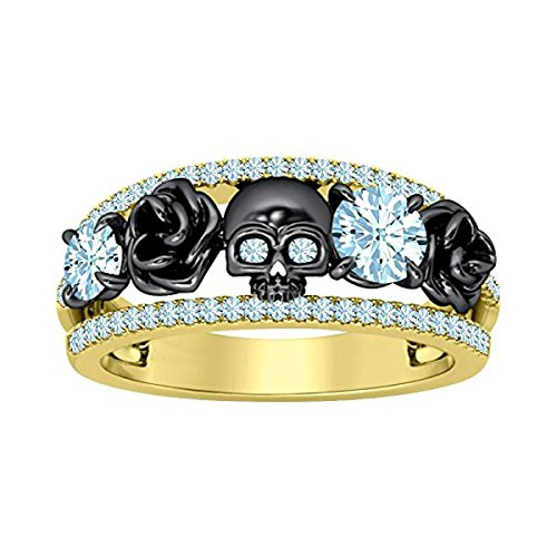 DreamJewels Belle Princess Black Rose Design Band Skull Ring 1.00 Ct Created Round Cut Created Aquamarine 14K Yellow Gold Finish 925 Sterling Silver