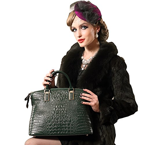 Cowhide Shoulder Genuine Real for Green Bags Leather Bags Handbags Top Women handle Handbags FSYqvSw