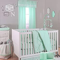 Mint Green Pintuck and Confetti Dot Boy's 5 Piece Crib Bedding Set by The Peanut Shell