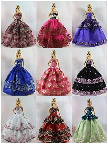 15 items=5 Fashion Handmade Party Dress/Clothes/Gown +10 shoes For Doll