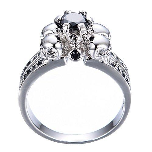 jacob alex ring Skull Solid 10KT White Gold Filled Black Sapphire Crystal Wedding Ring -