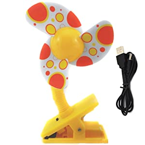 Eforstore Baby Clip-on Mini Stroller Fan Cute Crib Cooling Fans (Yellow With USB Cable)