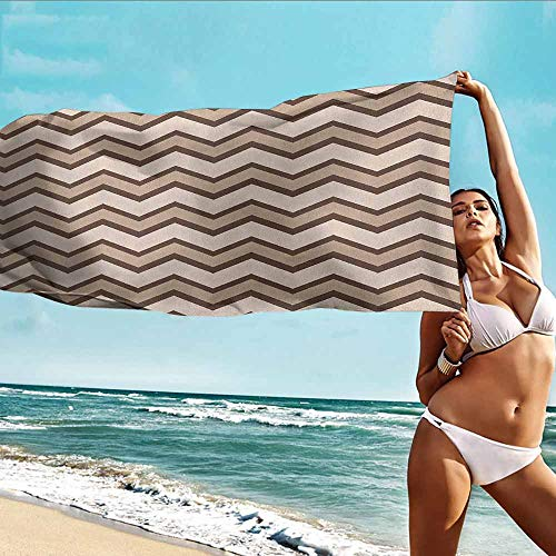 (Antonia Reed Beach Bath Towel Tan,Classic and Fashionable Chevron Zigzag Pattern Waves Geometric Retro Style Tiling,Brown and Tan,Suitable for Home,Travel,Swimming Use)