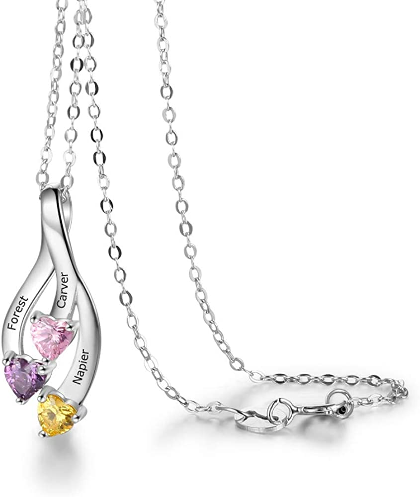 Tian Zhi Jiao Personalized 3 Simulated Birthstone Mothers Pendant Necklace with 3 Names Engraved Love Heart Pendant Family Necklace for Women