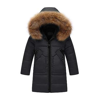 0186396d1 Amazon.com  SITENG Girls  Kids Winter Fur Hooded Down Coat Puffer ...