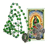 Lady Guadalupe Green Glass Faceted Beads Rosary Miraculous Dangle Filigreed Crucifix Blessed Prayer Card