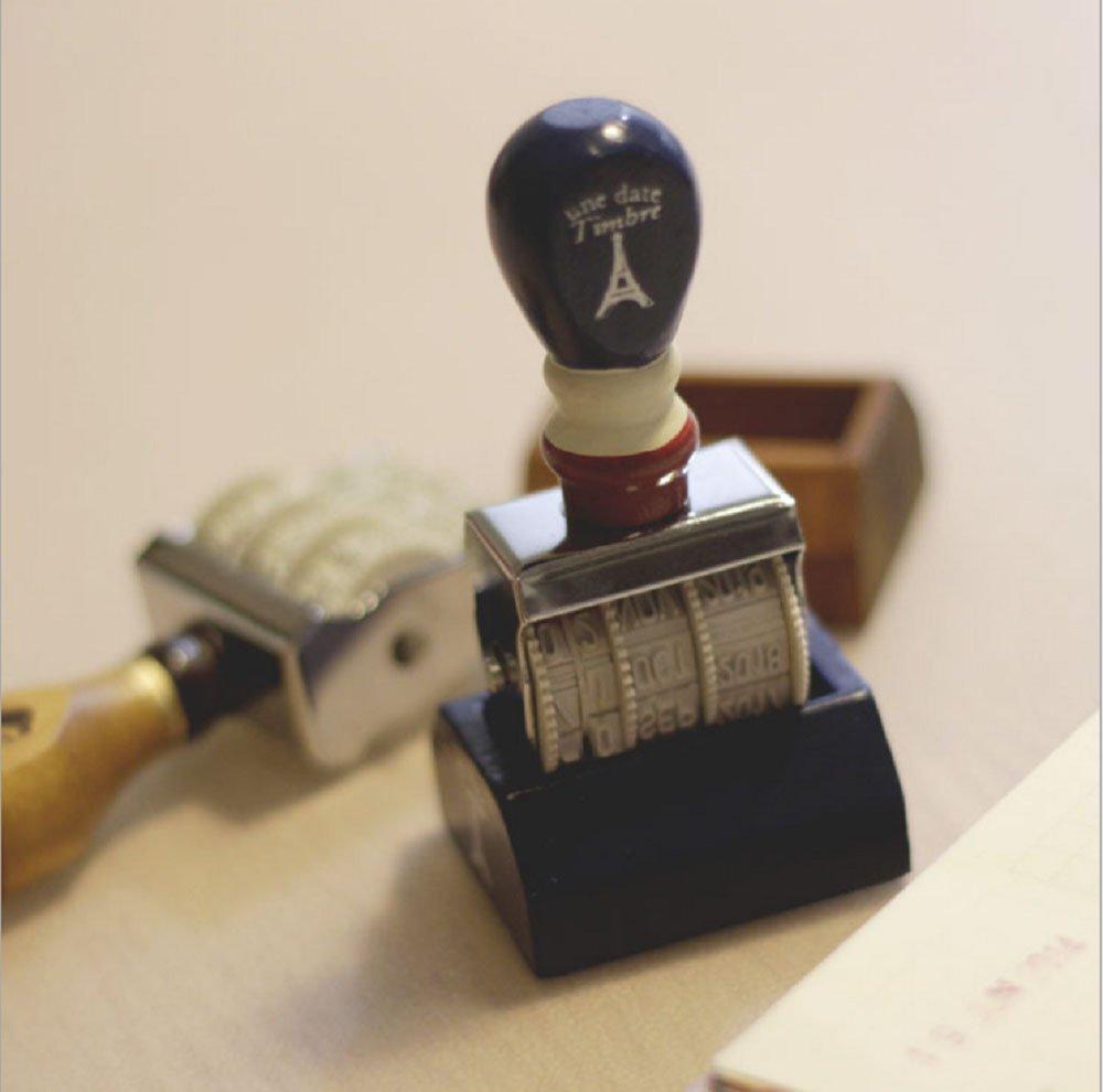 D-worthy Retro Wooden Handle /& Base Roller Date Stamp Rubber Stamp for DIY Craft Card Making Planner Scrapbooking Navy