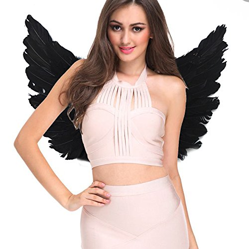 [Angel Costumes for Women Kids Black White Feather Wings (Adult, Black)] (Angel Or Devil Costumes)