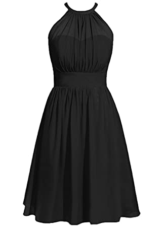 Victoria Prom Halter Short Chiffon Bridesmaid Prom Dresses Wedding Party Guest Gowns Black US2