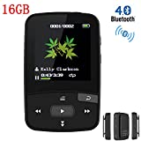HONGYU X50 16GB Clip Bluetooth MP3 Player for Running ,1.5 Inch Display Mini Portable Music Player with FM Radio / Voice Record (Support up to 64GB- Black)