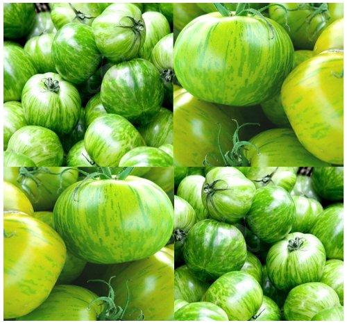 (20 GREEN ZEBRA Tomato Seeds HEIRLOOM ~ SWEET & TANGY Rare Green-Yellow Stripes ~)