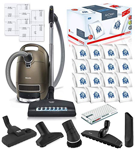 Miele Complete C3 Brilliant Canister HEPA Vacuum Cleaner + SEB-236 Powerhead Bundle – Includes Miele Performance Pack 16 Type GN AirClean Genuine FilterBags + Genuine AH50 HEPA Filter