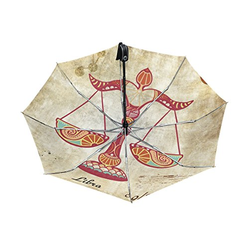 - Constellation Zodiac Sign Libra UPF 50+ Anti-UV Parasol Waterproof Windproof Reverse 3 Folds Auto Open Close Lightweight Umbrella