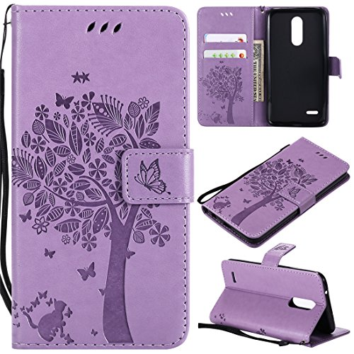 LG K10 2018 Case, LG K30 Case, Love Sound [Cat Tree Butterfly/Light Purple] [Wrist Strap] [Stand Function] Luxury PU Leather Wallet Flip Protective Case Cover with Card Slots for LG K10 2018/LG K30 For Sale