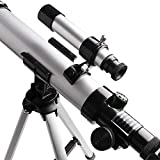 Telescope for Kids Focal Length 400mm Aperture 40mm with Compass &Tripod& Finder Scope, Refractor Portable Kids' Telescope and Beginners' Telescope for Exploring The Moon and Its Craters