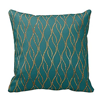 Amazon Chic Teal And Gold Modern Decorator Accent Pillow Case Stunning Decorator Throw Pillows