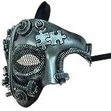 Storm Buy] Steampunk Style Phantom Metallic Half Face Men Masquerade Ball Mask Prom Party (Silver)