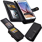 Eloiro Galaxy S6 Edge Plus Case, Premium Leather Zipper Wallet Carrying Case Protective Detachable Flip Holster Button Closure Clutch with Multiple Card Holder and Hand Strap for GalaxyS6 Edge Plus