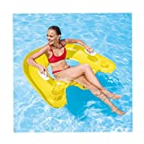 Yliquor Seated Inflatable Floating Row Loungers Swimming Floating Bed Inflatable Ride Summer Beach Swimming Pool Outdoor Water Toys Party Lounge Raft Decorations Toys Kids Adults (Yellow or Orange)