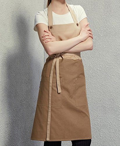 Lqchl Full Length Cotton Bib Apron Cafe Bistro Bar Salon Spa Uniforms Barista Waiter/Waitress Painter Baker Florist Chef Workwear,A