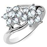 0.70ctw,Genuine Aquamarine 2x2mm Round & Solid .925 Sterling Silver Rings