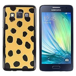 TopCaseStore / la caja del caucho duro de la cubierta de protección de la piel - Beige Black Dots Animal Nature Fur - Samsung Galaxy A3 SM-A300