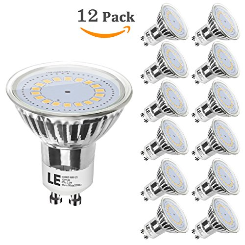 12 Led Spot Bulb (LE 12 Pack GU10 LED Bulbs, 50W Halogen Bulbs Equivalent, 3.5W, 350lm, 120° Beam Angle,3000K Warm White, MR16, LED Light)