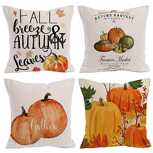 (KACOPOL Watercolor Pumpkin Throw Pillow Covers Cotton Linen Autumn Harvest Thanksgiving Day Christmas Décor Farmhouse Pillow Case Cushion Cover Square 18