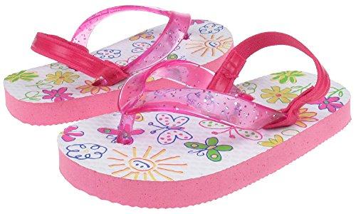 Capelli New York Glitter jelly thong on bugs print Toddler Girls flip flopsWhite Combo 8/9