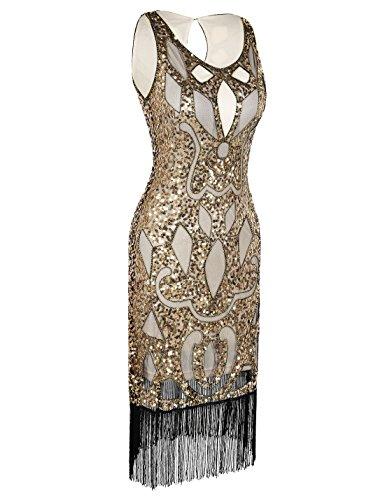 1920 Tambour Tribu Art Robe Dco Paillette Femmes PrettyGuide Cocktail Flapper Creux Paisley Or BwFZW