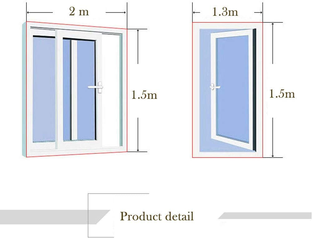 2*Negro FossenHyC 2pcs DIY Mosquitera Ventana con Loop Fastener 130 x 150 cm Extensible para Balc/ón o Terraza Mosquitera para Ventana