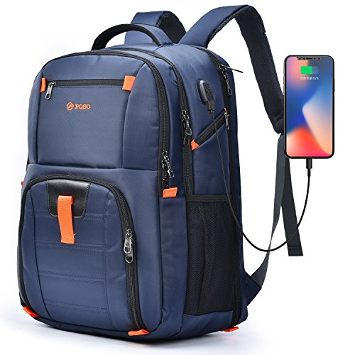 - POSO Laptop Travel Backpack 17.3 Inch Computer Bag with USB Port Water-Resistant Business Rucksack Hiking Knapsack Multi-Compartment Men Backpack for Dell Alienware Series/HP/Lenovo/Acer (Blue)