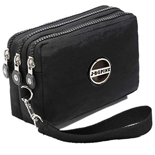 (Three Layer Zipper Purse Waterproof Nylon Wallet Handbag Cell Phone Pouch Coin Purse (black))