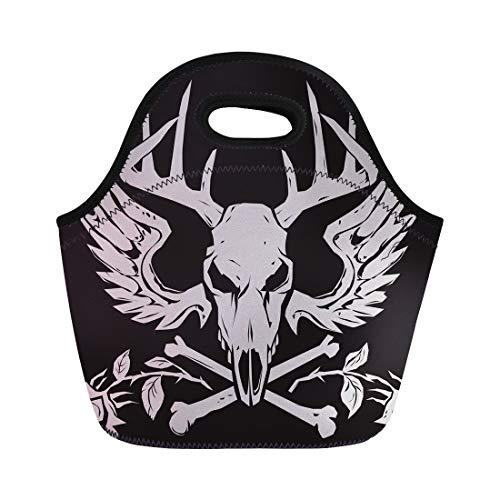 (Semtomn Lunch Tote Bag Gray Skull Deer Crossbones Antlers Evil Head Wings Emblem Reusable Neoprene Insulated Thermal Outdoor Picnic Lunchbox for Men Women)