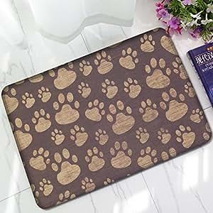 xingux personalizado perro huellas alfombrillas alfombra para suelo interior/exteriores/puerta delantera/alfombrilla de baño de goma antideslizante Felpudo (23,6x 15,7W)