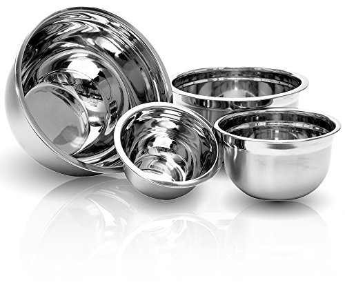 Stainless Steel Euro Mixing Bowl Set - 4 Nested Deep Kitchen