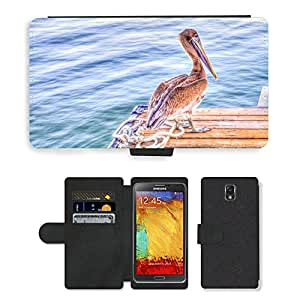 PU LEATHER case coque housse smartphone Flip bag Cover protection // M00110215 Pelícano Pájaro Fauna y flora de Brown // Samsung Galaxy Note 3 III N9000 N9002 N9005
