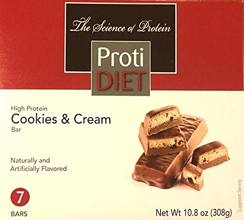 ProtiDiet High Protein Cookies & Cream Bar - 7 servings - 150 grams protein per serving