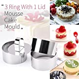 Rings Molds with Press Set, Guowall Cake Molds for Mousse Cake Dessert and Cooking Rings Biscuit Cutter Round Shape