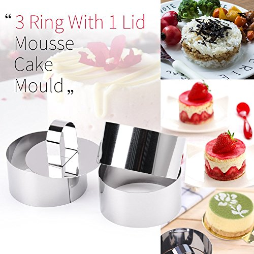 Rings Molds with Press Set, Guowall Cake Molds for Mousse Cake Dessert and Cooking Rings Biscuit Cutter Round - Rings Mousse Round