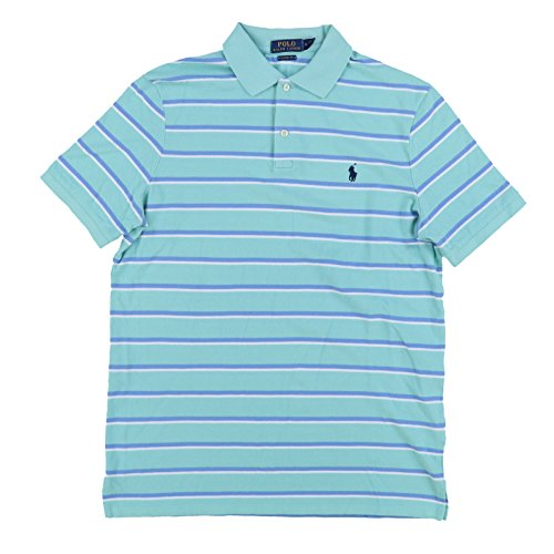 Polo Ralph Lauren Mens Classic Fit Pony Logo Striped Polo Shirt (M, GreenBlu) (Striped Rugby Shirt Lauren Ralph)