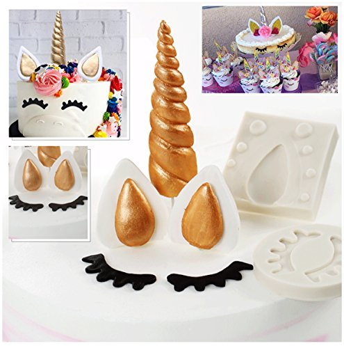 Kabi 5PCS Unicorn Silicone Cake Toppers Mold Set for Baking Cake Decoration Making Sugar Craft Candy Chocolate,with Unicorn Cupcake Toppers & Wrappers Double Sided 12 Sets by Kabi (Image #1)