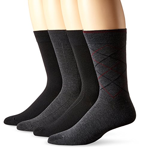 Van Heusen Men's Modern Argyle Crew Socks, Gray/Black, Sock Size: 10-13/Shoe Size:9-11 (Pack of 4)