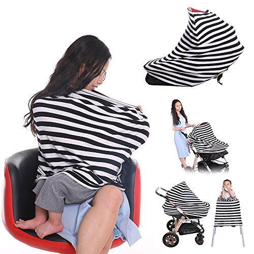 Baby Car Seat Covers - Tinabless Multi-Use Stretchy 5 in 1 Baby Car Seat Canopy for Infant Boys & Girls , Nursing Breastfeeding Cover Scarf (Black and White)